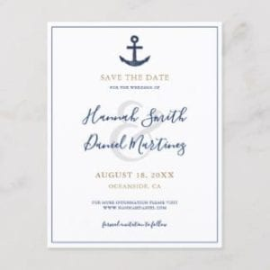 Blue and gold nautical wedding save the date postcard with anchor