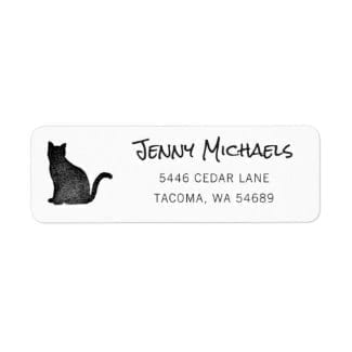 simple black and white return address label with black cat silhouette