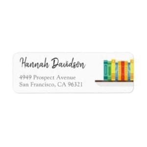 Return address label with a row of colorful books on a shelf