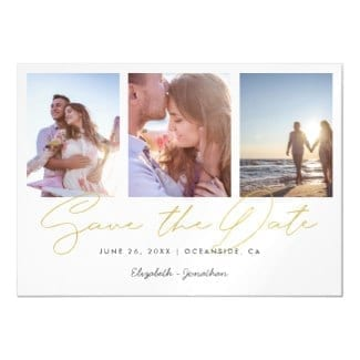 Horizontal gold and white three-photo wedding save the date magnet