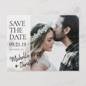 modern wedding save the date horizontal postcard with photo and semi transparent design with black names script