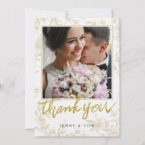 Photo wedding thank you card with gold leaves and modern typography