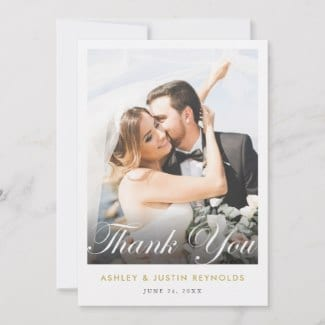 photo wedding thank you flat card with elegant script and gold text