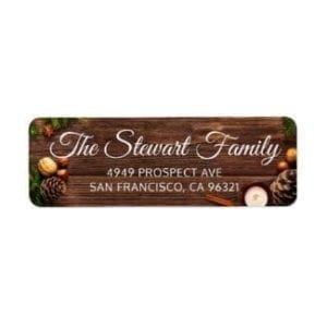 Christmas return address label with text on photo of rustic wood, pinecones