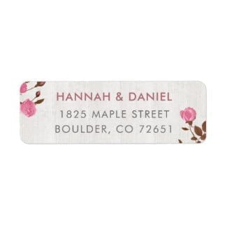 rustic return address label with pink roses on whitewashed wood motif
