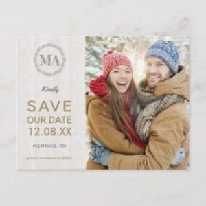 Wedding save the date postcard with photo, gold text and rustic wood motif