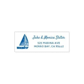 nautical self-inking stamp with simple, rustic blue sailboat