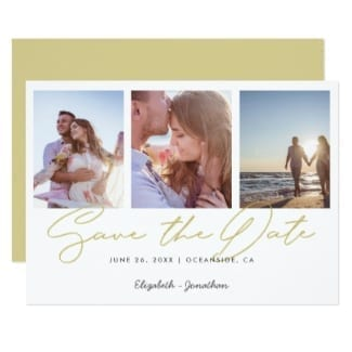 Simple horizontal gold and white three-photo wedding save the date flat card with modern typography