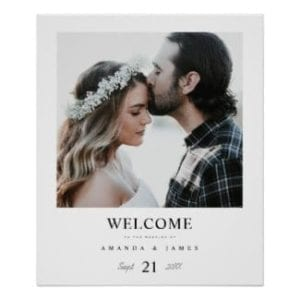 Simple, chic photo wedding welcome sign with white borders
