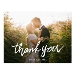 simple photo wedding thank you postcard with modern white typography