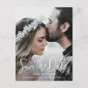 Simple stylish save the date postcard with photo and modern typography