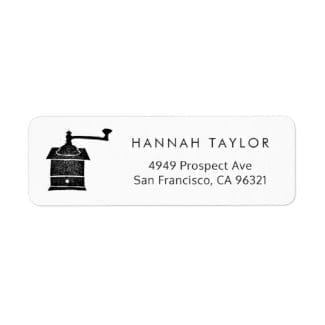 simple black and white return address label with a rustic coffee mill motif