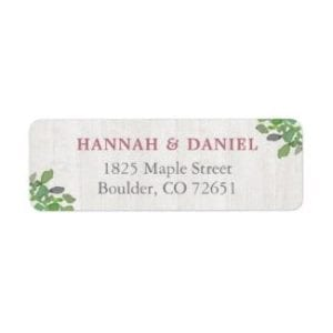 return address label with whitewashed rustic wood base and simple green leaves