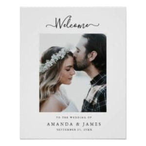 simple modern black and white wedding welcome poster with photo