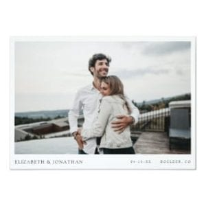 Horizontal photo wedding save the date flat card with modern minimalist design and white borders