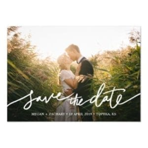 Simple photo save the date magnet card template with modern handwriting script in white and horizontal format