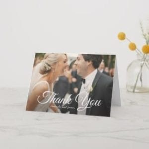 simple wedding thank you folded card template with photo and elegant script