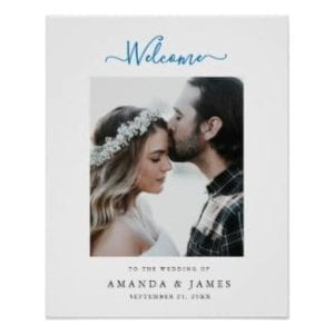 Simple modern photo beach wedding welcome sign with ocean blue text and white border