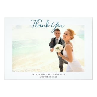 simple modern horizontal beach wedding thank you flat card with photo and blue script