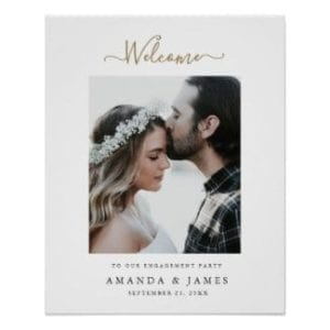 simple modern photo wedding engagement party welcome sign with whimsical gold script and borders