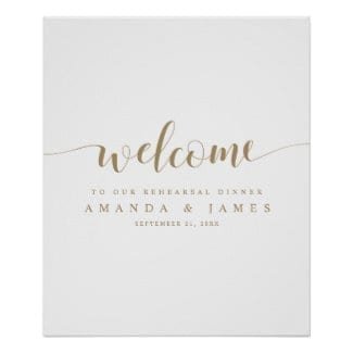 simple modern wedding rehearsal dinner welcome sign with whimsical gold script on white
