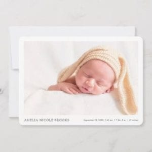 simple modern minimalist horizontal photo birth announcement card with borders for boy or girl