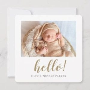 simple modern square birth announcement flat card for girl or boy with photo, borders and gold script