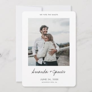 simple modern photo elopement announcement flat card with white borders and 'We tied the knot!' in black script