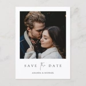 modern minimalist wedding save the date postcard wiith photo and white borders
