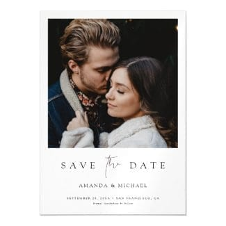 minimalist save the date magnet with photo, white borders and black text