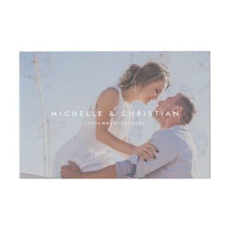 photo wedding guest book with overlay and white names and date text