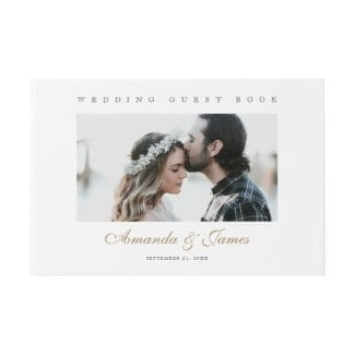 simple modern wedding guest book with photo and elegant gold names script