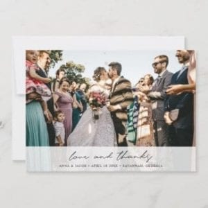 horizontal personoalized wedding thank you card with photo and love and thanks in modern black script