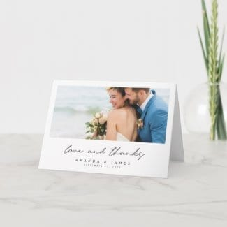 simple modern wedding thank you folded card with photo on front and inside with 'love and thanks' in black script