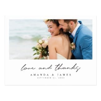 simple modern wedding thank you postcard with photo, white borders and 'lve and thanks' in black script