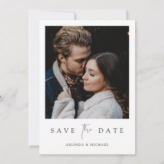 minimalist modern wedding save the date invite template with photo, borders