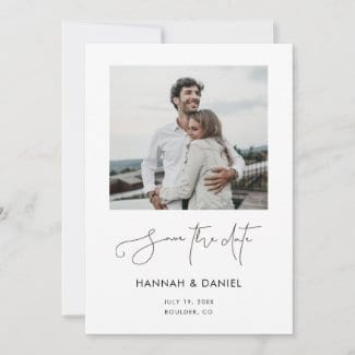 modern minimalist wedding save the date card with black script, white borders and photo