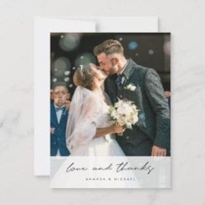unique wedding thank you card with photo and semitransparent overlay with love and thanks in a modern black script