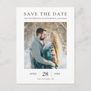 minimalist modern wedding save the date postcard with photo, white borders and black text