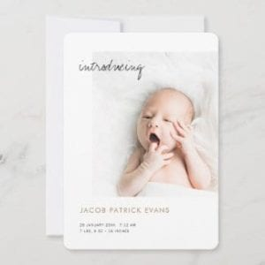 simple modern custom photo birth annoucenment card with gold text