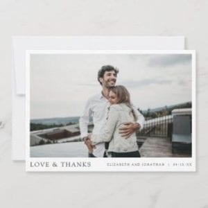 simple wedding thank you card with photo, love and thanks in black and white borders