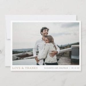 simple gold wedding thank you card with love and thanks and photo with borders