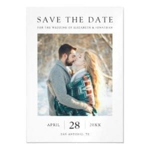 simple modern wedding save the date magnet with photo and white borders with black text