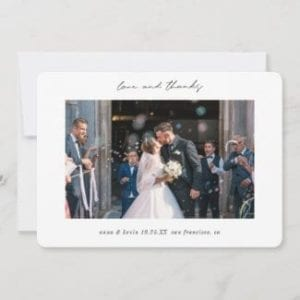 """simple modern horizontal 5"""" x 7"""" photo wedding love and thanks thank you card with borders and black script"""