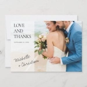 simple modern horizontal weddiing thank you card with love and thanks and first names in black script