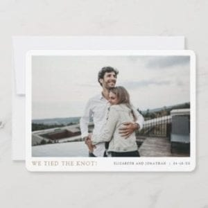 simple modern horizontal elopement wedding announcement card with photo and names in gold