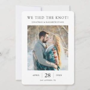 simple modern we tied the knot elopement announcement card with photo and borders