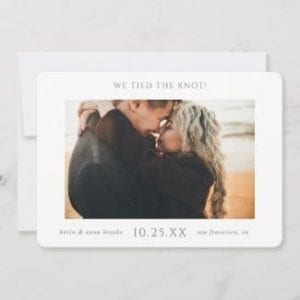 simple modern horizontal wedding elopement announcement with photo and gray we tied the knot text