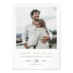 minimalist modern wedding save the date magnetic invitation with gold text and photo