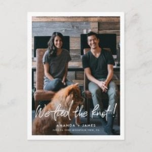 modern wedding elopement announcement postcard with photo and we tied the knot in casual white script